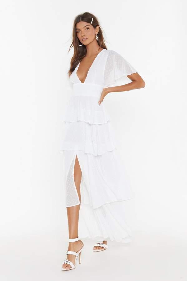 Nasty Gal Womens Tier'Ing Up Bridal Ruffle Dress - White - 12