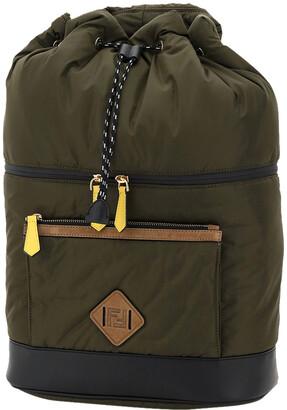 Fendi Green Nylon Drawstring Backpack Bag
