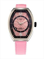 Montres de Luxe Women's EXL A 8303 Estremo Lady Stainless Steel Pink Sunray Dial Luminous Leather Date Watch