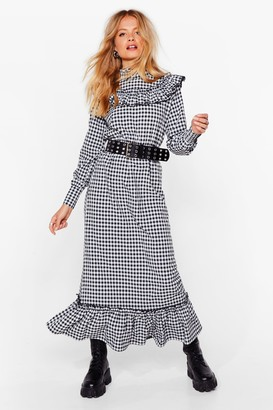 Nasty Gal Womens puff sleeve maxi smock dress in gingham check - Black - 4, Black