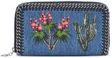 Stella McCartney falabella denim embroidered zip around wallet