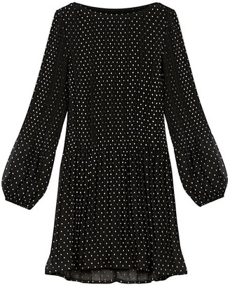 Maje Rockito Pleated Polka Dot Mini Dress