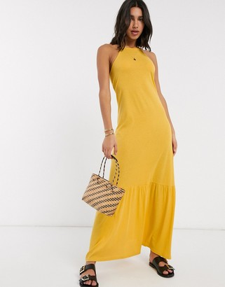 ASOS DESIGN square neck halter maxi dress with pep hem in mustard