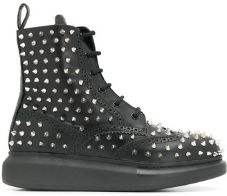 Alexander McQueen Spike Lace-Up Boots
