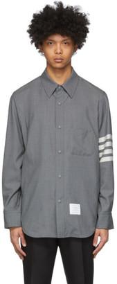 Thom Browne Grey Snap Front 4-Bar Jacket