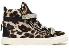 Giuseppe Zanotti Embellished Leopard-print Calf Hair High-top Sneakers