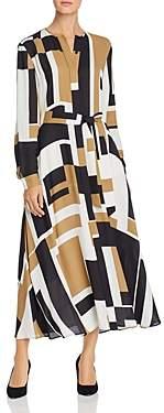 Lafayette 148 New York Emberly Geo-Print Maxi Shirt Dress