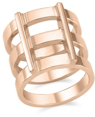 Ille Lan Rascas R2 Triple Stacked Chunky Moderno Unisex Ring in Rose Gold 925 Silver