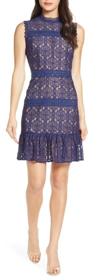 Chelsea28 Mock Neck Lace Sheath Dress