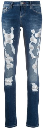 Philipp Plein Embellished Ripped Skinny Jeans