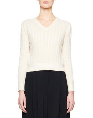 The Row Rozanne Cashmere/Silk Crop Sweater