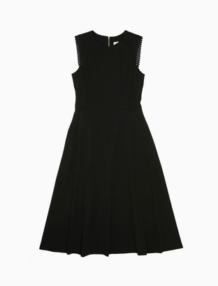 Calvin Klein Scallop Trim Sleeveless Fit + Flare Dress
