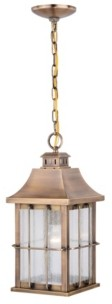 Vaxcel Quincy Antique Brass Rust Proof Outdoor Pendant Ceiling Light with Clear Glass