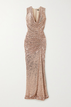 Reem Acra Draped Sequined Tulle Gown - Gold