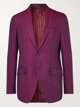 Etro Navy Slim-fit Unstructured Linen Suit Jacket - Burgundy