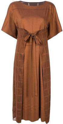 Pleats Please Issey Miyake tie waist boxy fit dress