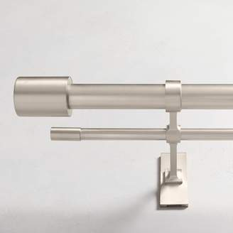 west elm Oversized Metal Double Rod - Brushed Nickel