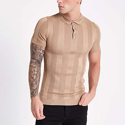 River Island Mens Brown ribbed muscle fit polo shirt