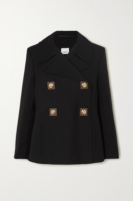 Burberry Double-breasted Leather-trimmed Wool-twill Coat - Black