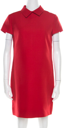 Valentino Red Wool and Silk Collared Short Sleeve Dress M