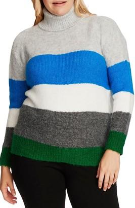Vince Camuto Colorblock Turtleneck Sweater (Plus Size)