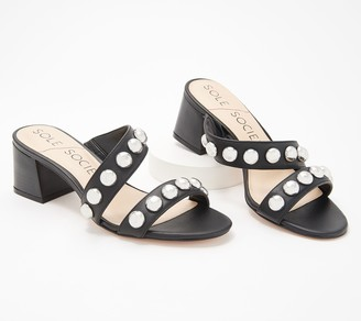 Sole Society Suede Studded Heeled Sandals - Sasandra