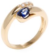 Bulgari Vintage 18K Yellow Gold, Blue Sapphire & Diamond Bypass Ring