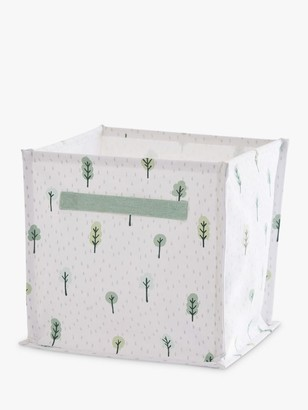 Great Little Trading Co Woodland Canvas Storage Cube Box, White/Green