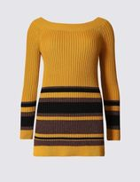 Marks and Spencer Striped Bardot Slash Neck Jumper