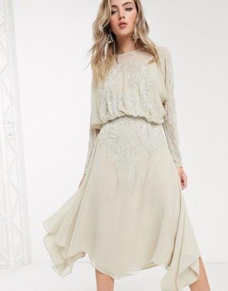 Asos Design DESIGN blouson long sleeve midi dress in embellishment