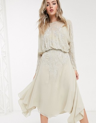 Asos DESIGN blouson long sleeve midi dress in embellishment