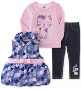 Kids Headquarters 3-Pc. Puffer Vest, T-Shirt & Denim Leggings Set, Toddler Girls & Little Girls (2T-6X)