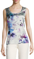 St. John Ethereal Silk Floral Print Charmeuse Shell