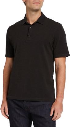 Isaia Men's Short Sleeve Washed Pique Polo Shirt