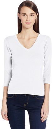 Three Dots Women's Essential Deep V-Neck 3/4 Sleeve Tee