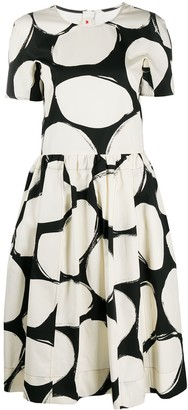 Marni Pebbles Print Flared Dress