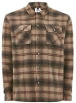 Topman Mens Brown Orange Check Long Sleeve Overshirt
