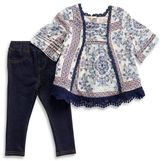Jessica Simpson Size 3T 2-Piece Woven Lace top and Knit Denim Legging Set in Blue/White