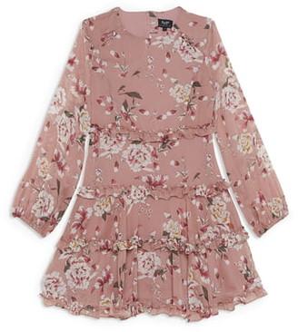 Bardot Junior Floral Tiered Ruffle Long Sleeve Dress