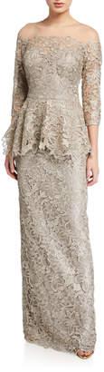 Rickie Freeman For Teri Jon Metallic Lace 3/4-Sleeve Sheer Yoke Peplum Gown