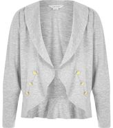 River Island Girls grey ponte frill hem boy blazer