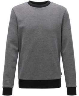 HUGO BOSS Striped Collar Sweatshirt In A Cotton Blend Jacquard - Open Green