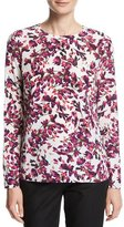 Escada Floral Petal-Print Silk Long-Sleeve Top, Fantasy