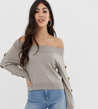 Asos DESIGN Petite bardot jumper with button sleeve detail
