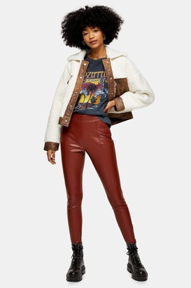 Topshop Brown Faux Leather Skinny Pants