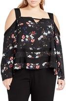 Rachel Roy Plus Size Women's Square Neck Cold Shoulder Top