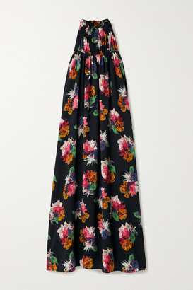 ARIAS Floral-print Crinkled Stretch Silk-crepe Maxi Dress - Black