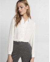 Express scalloped ruffle trim button front shirt