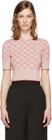 Alexander McQueen Red Jacquard Check Pullover