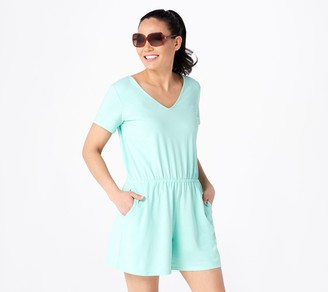 AnyBody Cozy Kind V-Neck Short Sleeve Romper